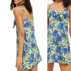 50% OFF  TOPSHOP Blue Tropical Floral Mini Dress